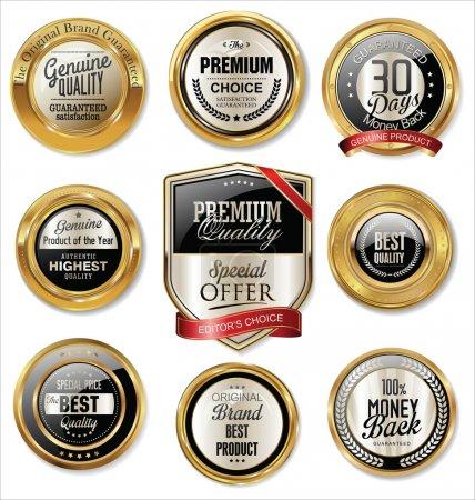 Illustration for Set of Premium quality golden labels - Royalty Free Image