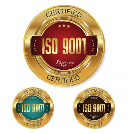Illustration for ISO 9001 certified golden badges collection - Royalty Free Image