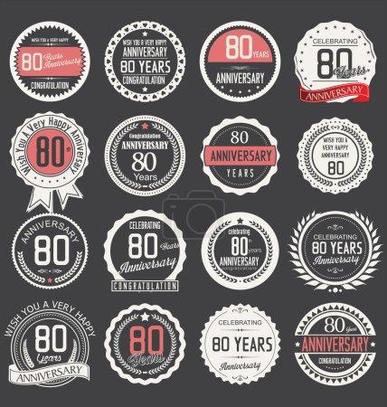 Illustration pour Collection d'étiquettes anniversaire, 80 ans - image libre de droit