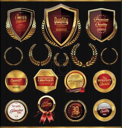 Golden shields, laurels and medals