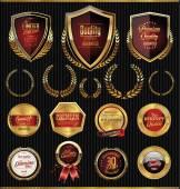 Golden shields laurels and medals