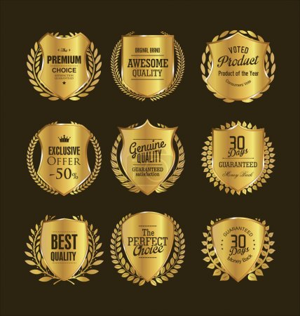 Golden retro vintage shields and laurels
