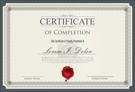 Illustration for Certificate, Diploma of completion - Royalty Free Image