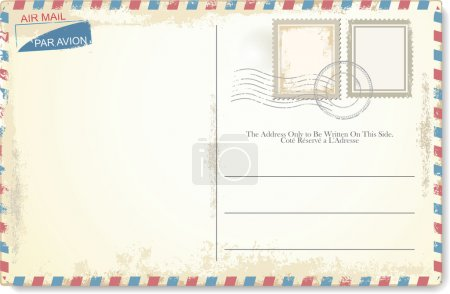 Illustration for Postcard vector in air mail style - Royalty Free Image