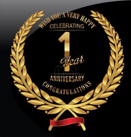 Anniversary golden laurel wreath 1 year