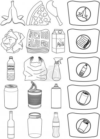 Illustration for Vector illustration pack of organic paper plastic aluminium and glass items for recycling - Royalty Free Image