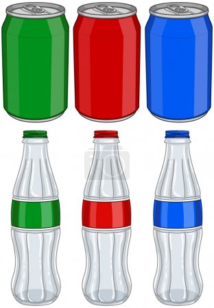 Soda Cola Aluminium Cans Glass Bottles Three Colors