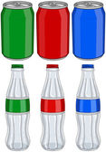 Vector illustration pack of red green and blue soda cans and glass bottles