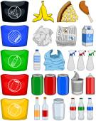 Vector illustration pack of organic paper plastic aluminium and glass items for recycling