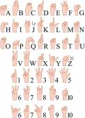 Vector illustrations pack of sign language ABC and numbers