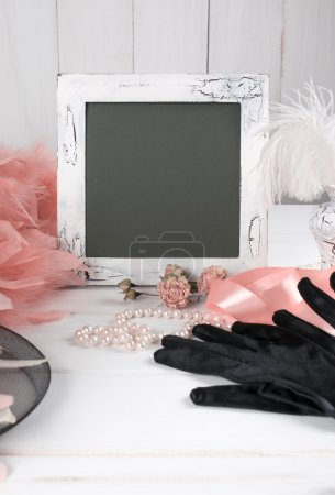 Old photo frame and women's retro accessories