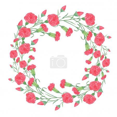 Watercolor carnation wreath with red flower.