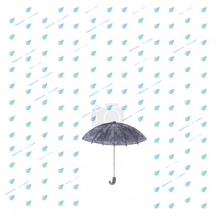Photo pour Aquarelle pluie et parapluie. Parapluie noir isolé sur fond blanc avec des gouttes bleues . - image libre de droit