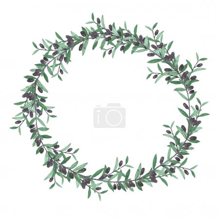 Photo for Watercolor olive wreath. Isolated illustration on white background. Organic and natural concept. - Royalty Free Image
