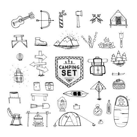 Hand drawn camping, hiking or mountain climbing icons set.