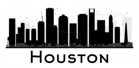Illustration for Houston City skyline black and white silhouette. Vector illustration. Simple flat concept for tourism presentation, banner, placard or web site. Business travel concept. Cityscape with landmarks - Royalty Free Image