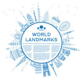 Outline travel concept around the world with famous landmarks