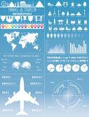 Infographic cestovní sada s památek, ikony a mapa světa