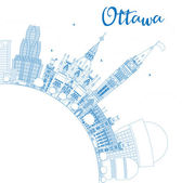 Outline Ottawa Skyline with Blue Buildings and Copy Space Vector Illustration Business travel and tourism concept with modern buildings Image for presentation banner placard and web site