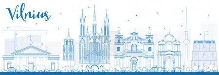 Illustration pour Décrivez Vilnius Skyline avec Blue Landmarks. Illustration vectorielle. Business Travel and Tourism Concept with Historic Buildings. Image pour la présentation Plaque de bannière et site Web . - image libre de droit