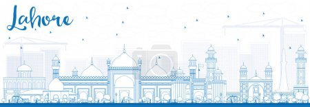 Illustration for Outline Lahore Skyline with Blue Landmarks. Vector Illustration. Business Travel and Tourism Concept with Historic Buildings. Image for Presentation Banner Placard and Web. - Royalty Free Image