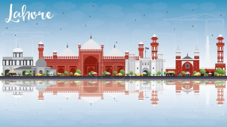 Lahore Skyline with Gray, Red Landmarks and Reflections.