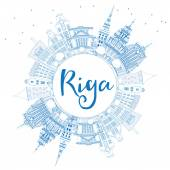 Outline Riga Skyline with Blue Landmarks and Copy Space