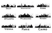 Set of City Skyline Black and White Silhouette