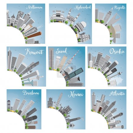 Illustration for Set of 9 City Skyline with Copy Space. Vector Illustration. Skyline with World Landmarks. Melbourne. Hyderabad. Riyadh. Kuwait. Seoul. Osaka. Brisbane. Hanoi. Atlanta - Royalty Free Image
