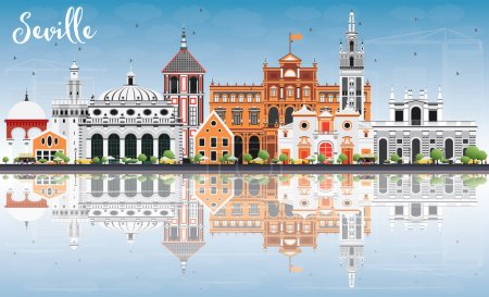 Seville Skyline with Color Buildings, Blue Sky and Reflection.