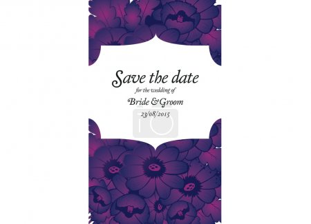 Wedding invitation card with purple flowers