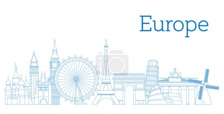 Illustration for Europe skyline detailed silhouette Outline version Vector illustration - Royalty Free Image