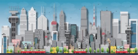 Photo for Big city with skyscrapers and small houses. Vector flat illustration - Royalty Free Image