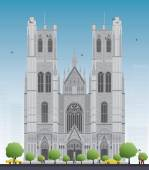 Building of the Cathedral of St Michael and St Gudula in the cen
