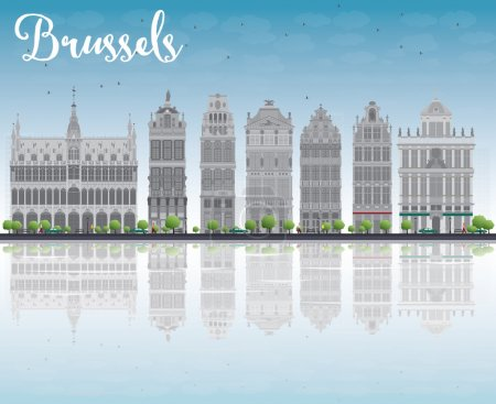 Brussels skyline with Ornate buildings of Grand Pl...