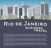 Rio de Janeiro skyline with grey buildings blue sky and place for text Business travel concept Vector illustration