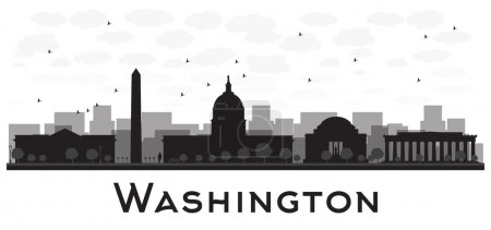 Washington dc city skyline black and white silhouette