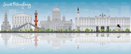 Illustration pour Skyline de Saint-Pétersbourg avec des points de repère gris, ciel bleu et espace de copie. Voyage d'affaires et tourisme concept avec des bâtiments historiques. Image pour présentation, bannière, pancarte et site Web. Illustration vectorielle - image libre de droit