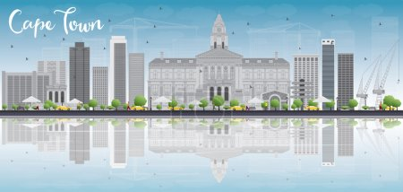 Illustration for Cape town skyline with grey buildings, blue sky and reflection. Vector illustration. Business travel and tourism concept with place for text. Image for presentation, banner, placard and web site. - Royalty Free Image