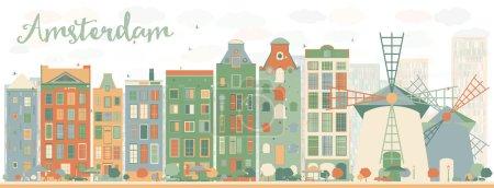 Illustration pour Résumé Amsterdam city skyline avec des bâtiments de couleur. Illustration vectorielle. Voyage d'affaires et tourisme concept avec des bâtiments historiques. Image pour présentation, bannière, pancarte et site Web . - image libre de droit