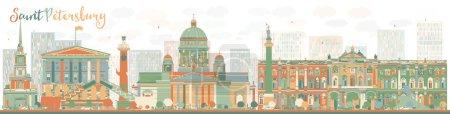 Illustration pour Résumé horizon de Saint-Pétersbourg avec des points de repère de couleur. Voyage d'affaires et tourisme concept avec des bâtiments historiques. Image pour présentation, bannière, pancarte et site Web. Illustration vectorielle - image libre de droit
