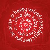 Valentines day round lettering on red gradient background with t