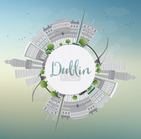 Illustration for Dublin Skyline with Gray Buildings, Blue Sky and Copy Space, Ireland. Vector Illustration. Business Travel and Tourism Concept with Historic Buildings. Image for Presentation Banner Placard and Web Site. - Royalty Free Image