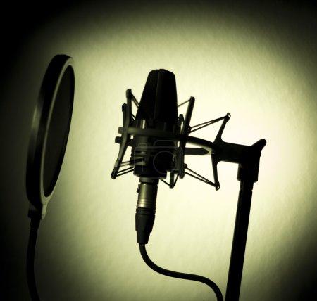 Photo pour Enregistrement vocal studio voix micro silhouette anti choc sonore monter et construit en anti filtre anti-pop pour chant et acteurs de voiceover faisant la voix-off. - image libre de droit