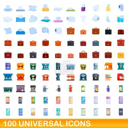 Ensemble de 100 icônes universelles, style dessin animé