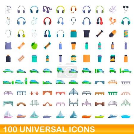 Illustration pour Ensemble de 100 icônes universelles. Illustration de bande dessinée de 100 icônes universelles ensemble vectoriel isolé sur fond blanc - image libre de droit