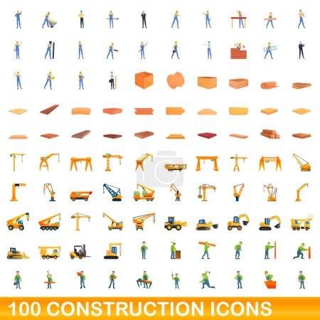 Illustration pour Ensemble de 100 icônes de construction. Illustration de bande dessinée de 100 icônes de construction ensemble vectoriel isolé sur fond blanc - image libre de droit