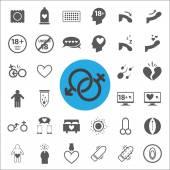 Sexuální znak a symbol ikony nastavit