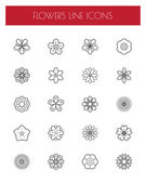Thin line flower icons set
