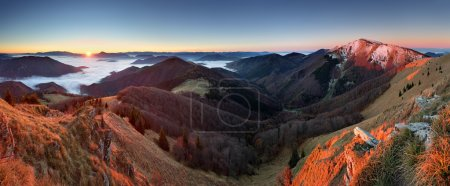 Slovakia mountain peak Osnica at sunrise - autumn panorama